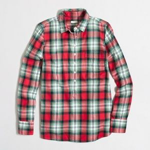JCrew Plaid Popover Flannel In Perfect Fit